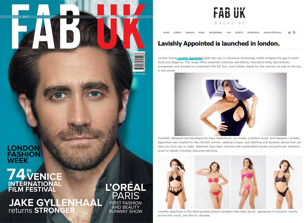 Thank you FAB UK Magazine for choosing Lavishly Appointed fashion brand!