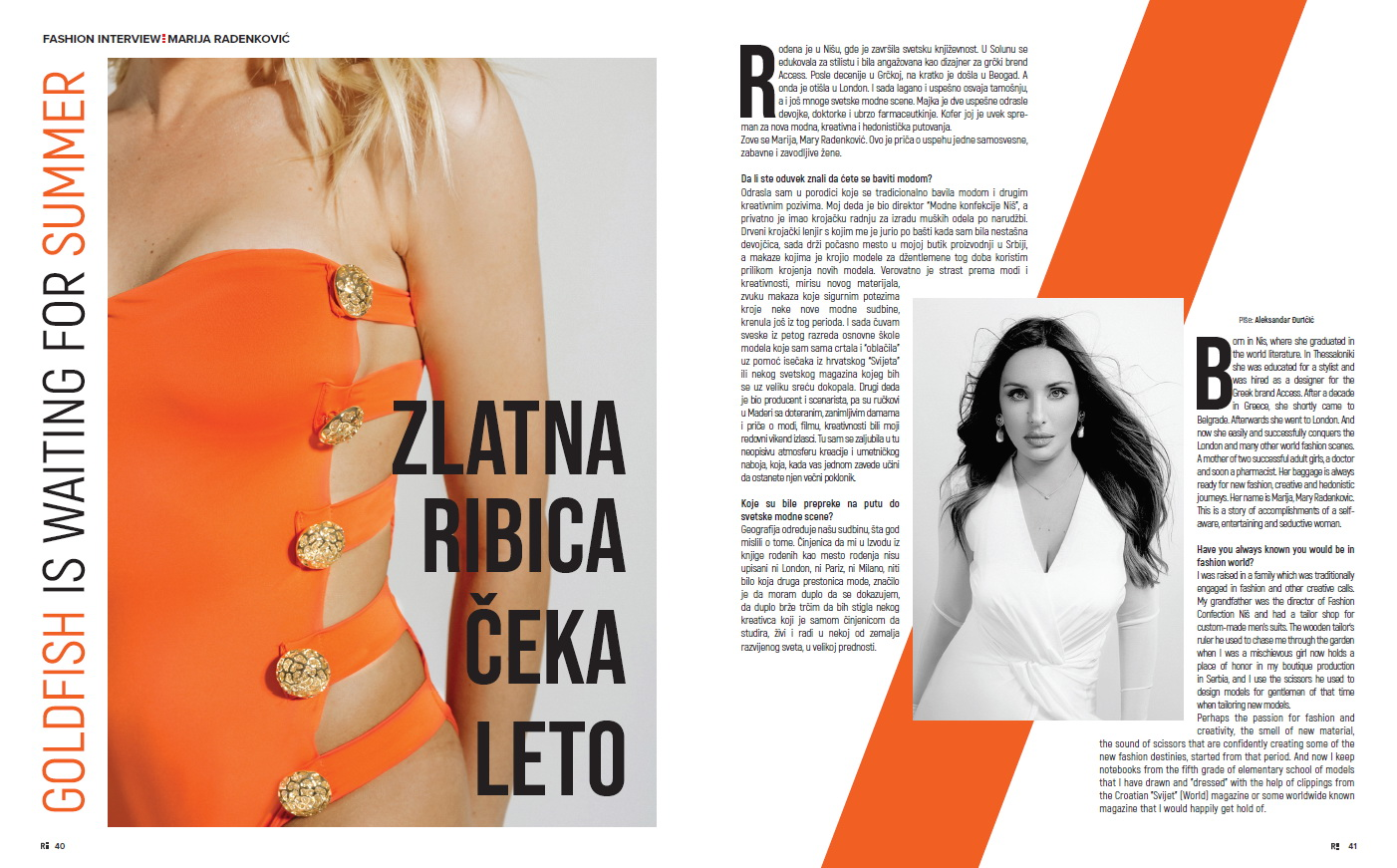 Lavishly Appointed in Reminder magazine - Fashion interview with Mary Radenkovic